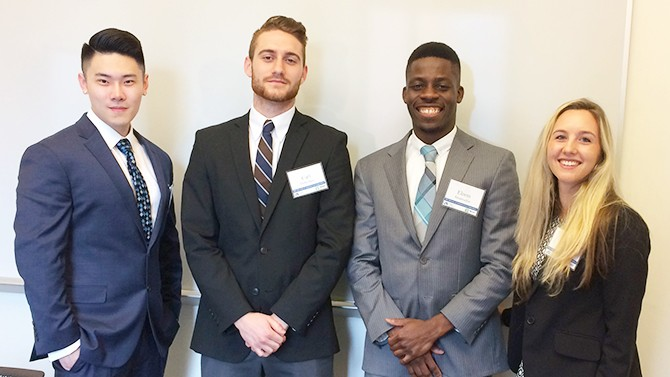 UD students Tony Liu, Carl DiStefano, Elorm Ahiamadjie and Nina Mallis took first place in a competition at Drexel University.