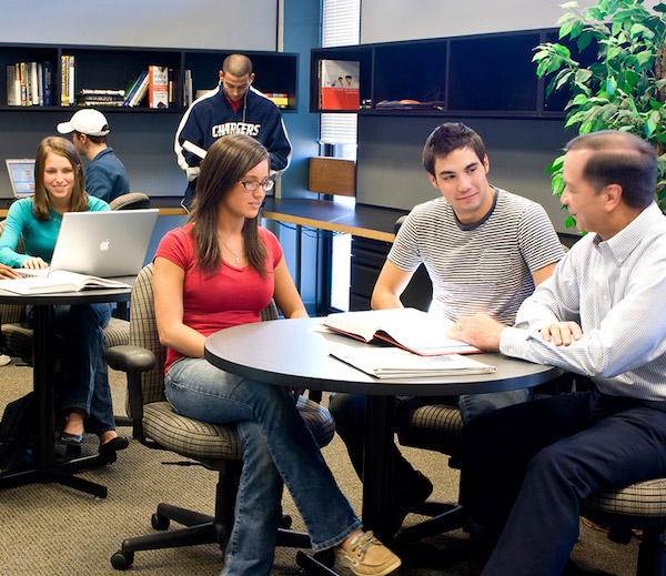 Students talking at a Lerner Experiential Learning Center