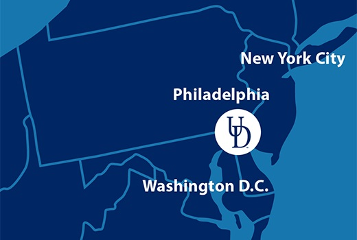 A map showing the location of the University of Delaware in relation to New York, Philadelphia and Washington, D.C.