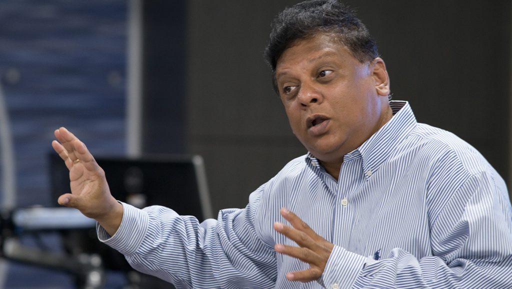 Srikanth Beldona speaks in the new Marriott Classroom in the Courtyard Marriott Hotel
