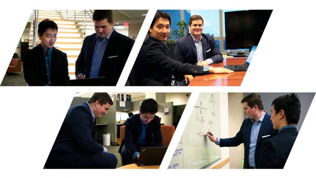 A series of photos of Anthony Rossi and Duanyi Wei working on Lyapunov Technologies.