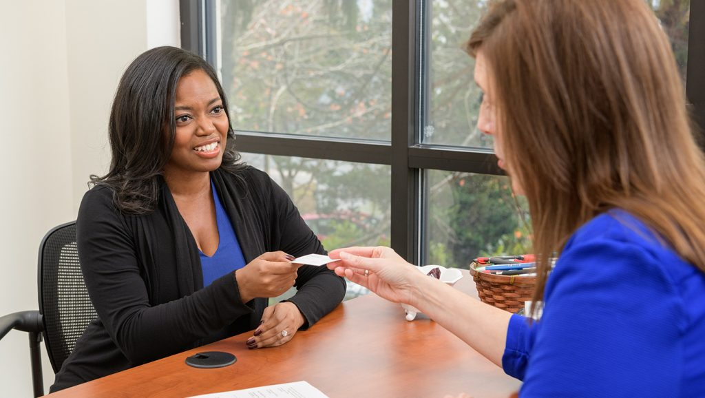 Lerner MBA student getting career advice from Lerner Career Services Center advisor.
