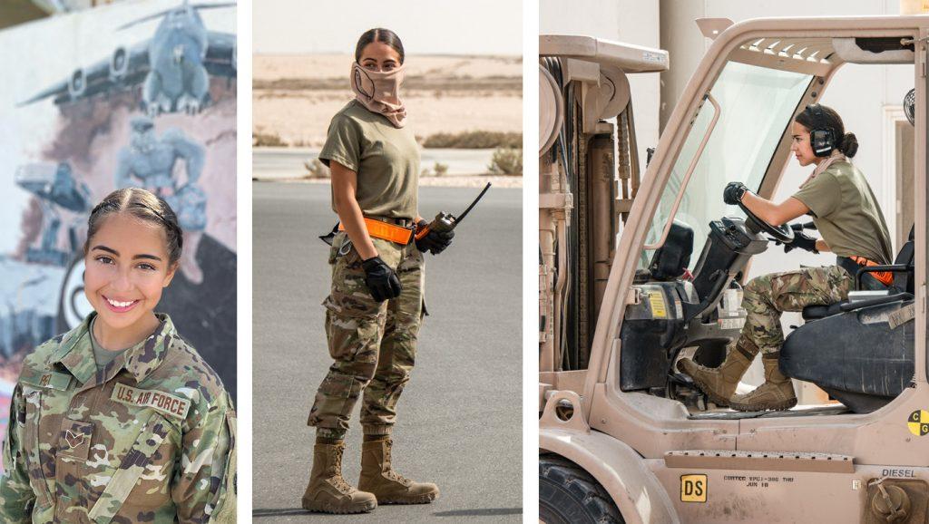 photos of Miranda Petti at Al Udeied Air Base in Doha, Qatar