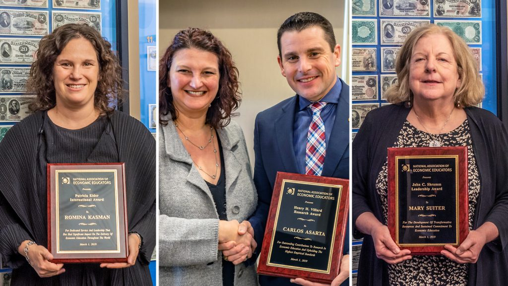 2019 NAEE Award winners include Carlos Asarta (center), Director of the Lerner College's CEEE, and Lerner alumni Mary Suiter (right) and Romina Kasman (left).