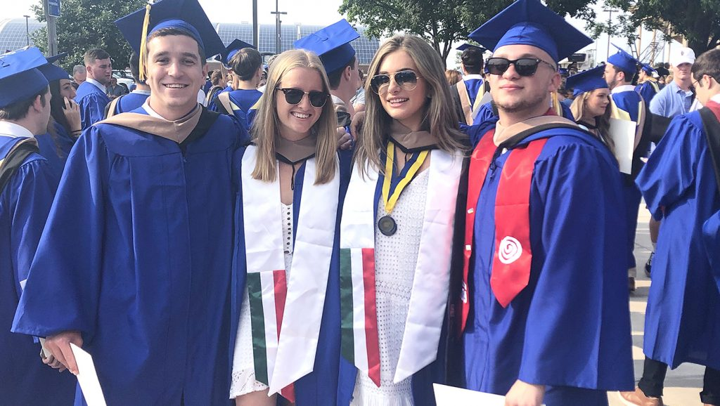 Four members of the MIS student team at Lerner Convocation. From left to right: Matthew Steiger, Nicole Nilsen, Kaitlyn McConeghy, Jack Avezzano