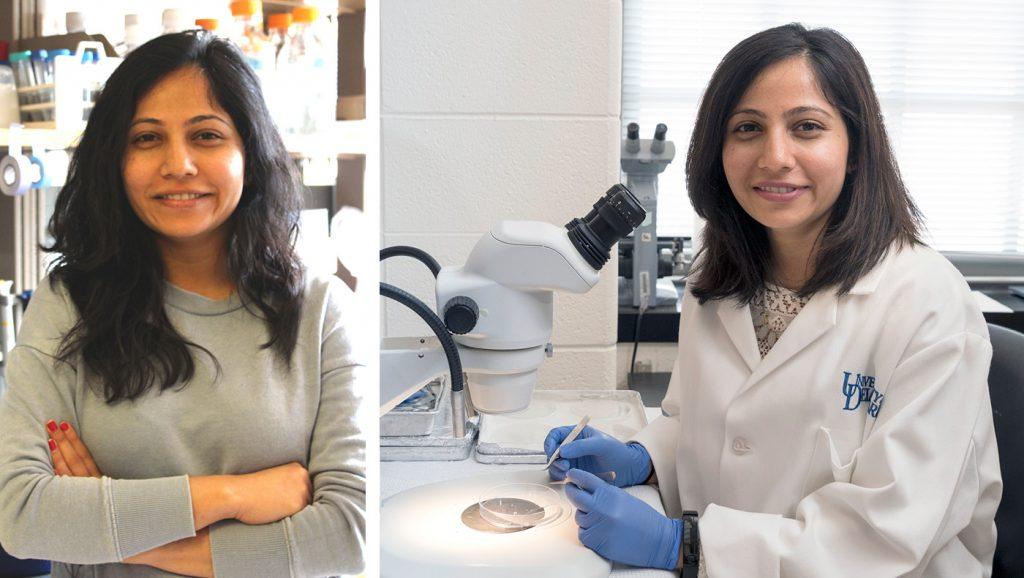 a casual and lab photo of Shaili Patel