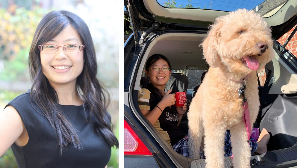 Wendy Xu and her dog collaged with a headshot of Wednqing.