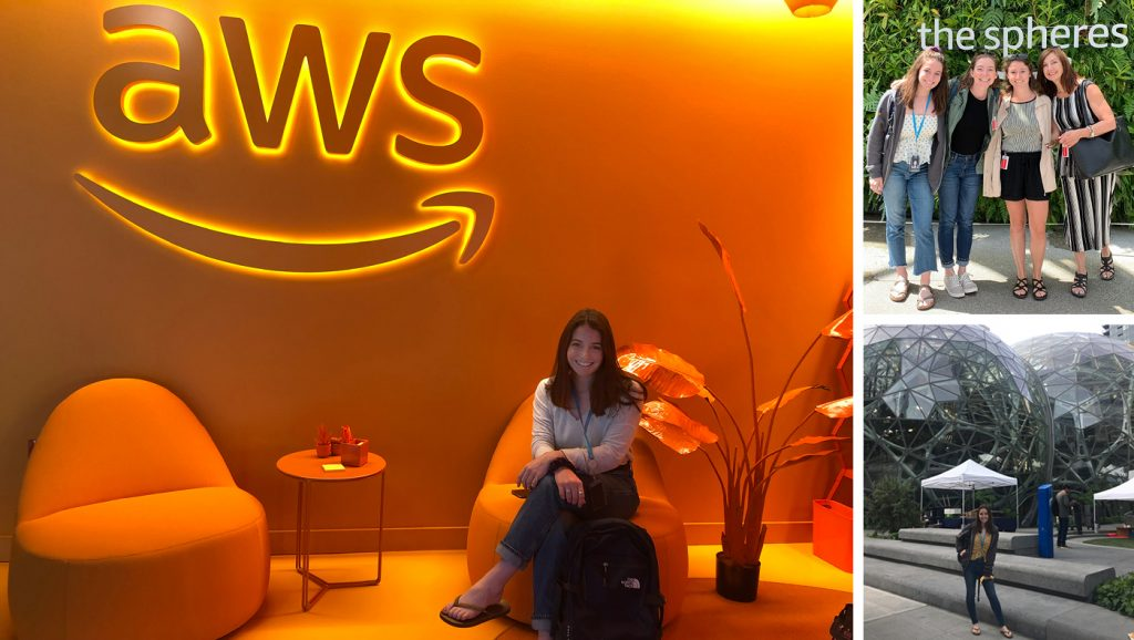 Compilation of images of Annie Stohler's internship at Amazon