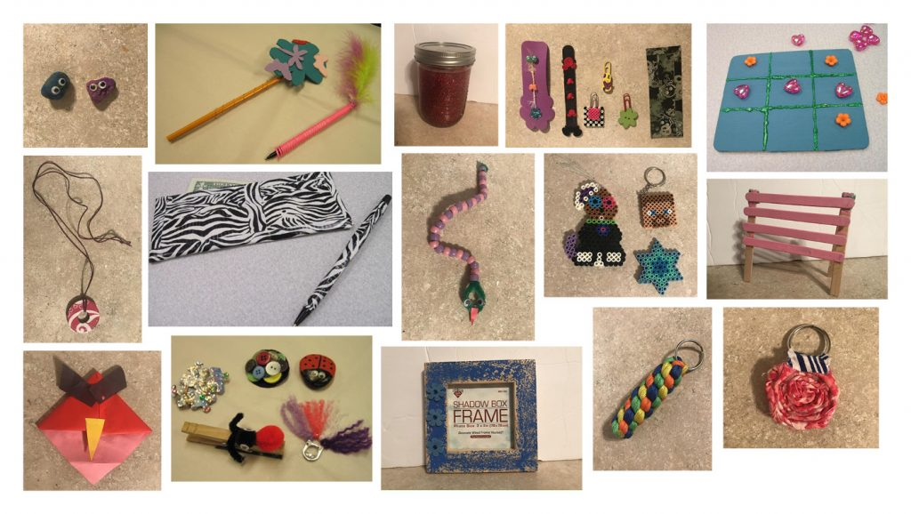 Pictures of products created by students who participated in CEEE's Mini-Society.