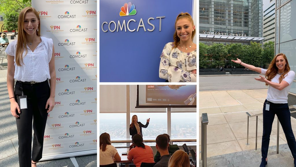 Collage of photos from Lexi Gilbert's internship at Comcast.