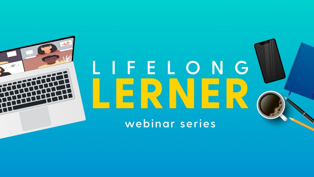 Lifelong Lerner webinar series with a laptop