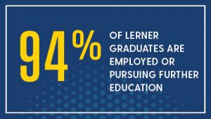 94% of lerner graduates are employed or pursuing further education