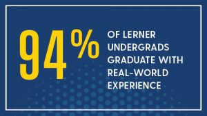 94% of lerner undergrads graduate with real-world experience